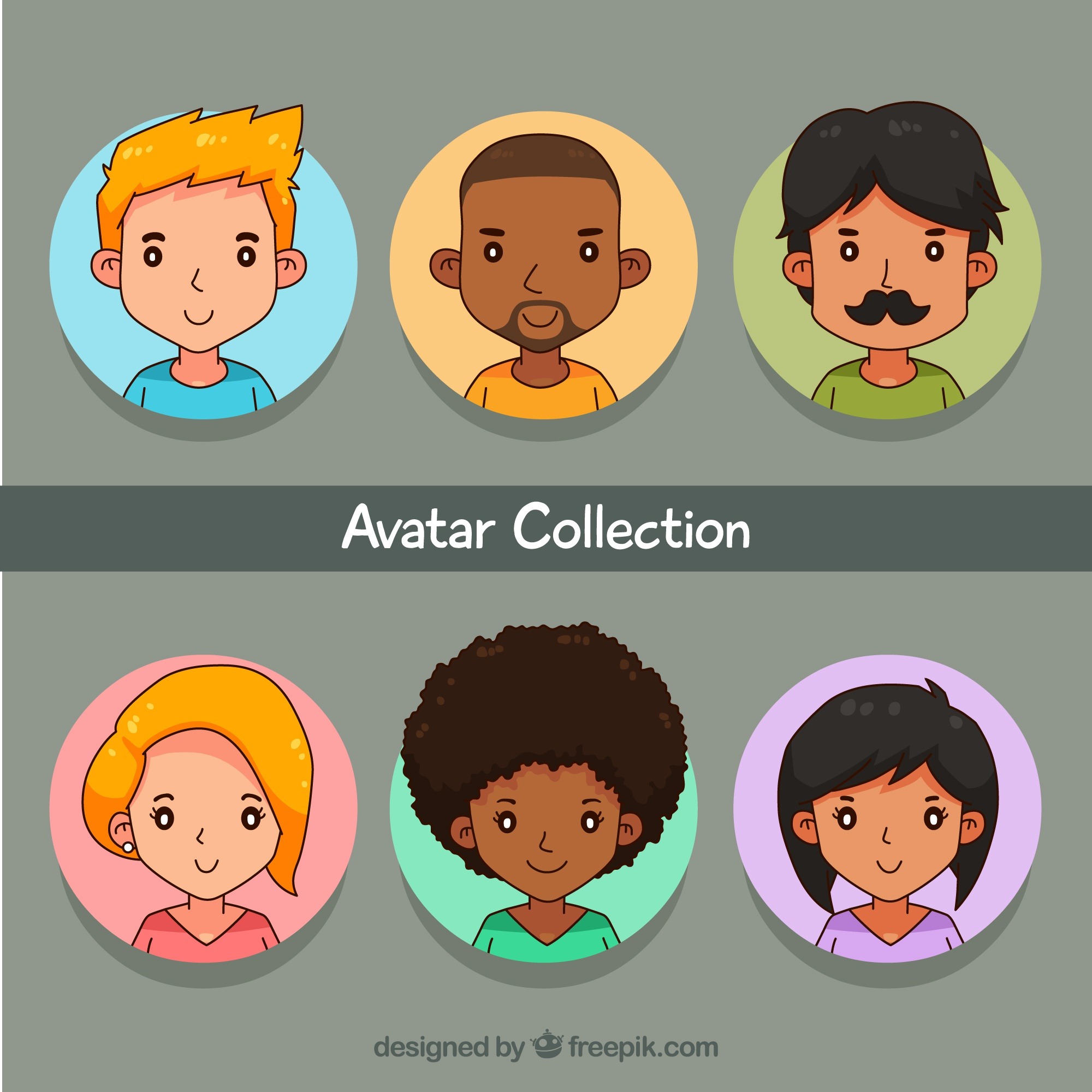 Several avatars of hand drawn women and men