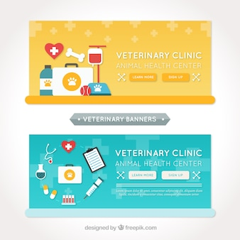 Several banners with flat elements for animal care
