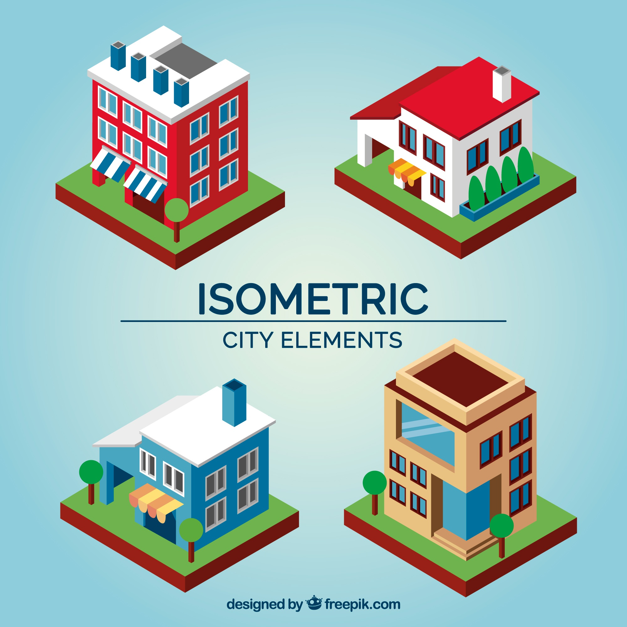 Several buildings in isometric design