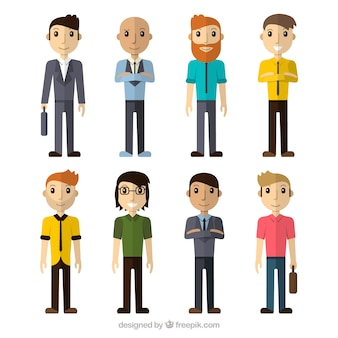 Several businessmen in flat design