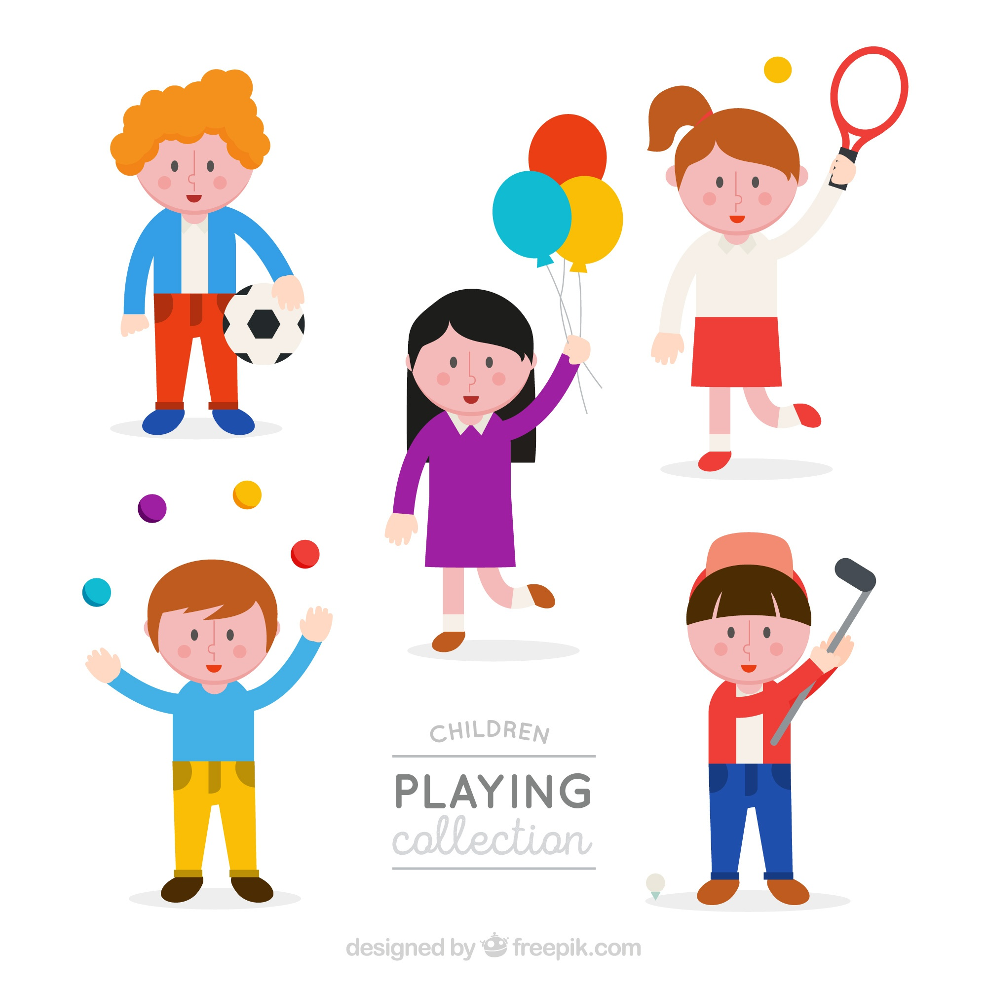 Several children with elements to play