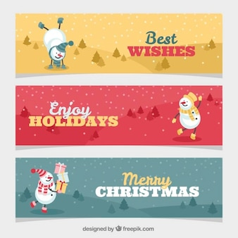 Several christmas banners with happy snowman