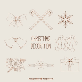 Several christmas hand-drawn elements in vintage design