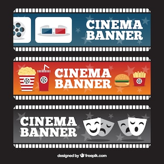 Several cinema banners with different objects