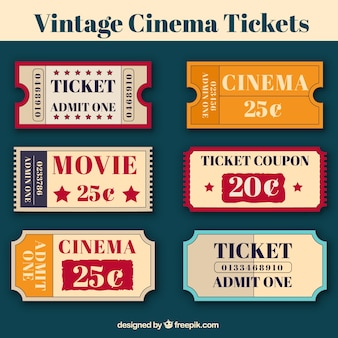 Several cinema tickets in vintage style