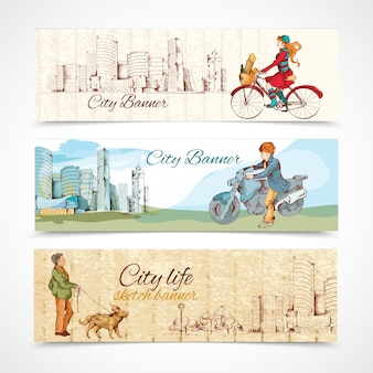 Several city banners in vintage style