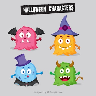 Several colored halloween monsters