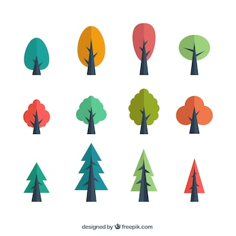 Several colored trees in flat design