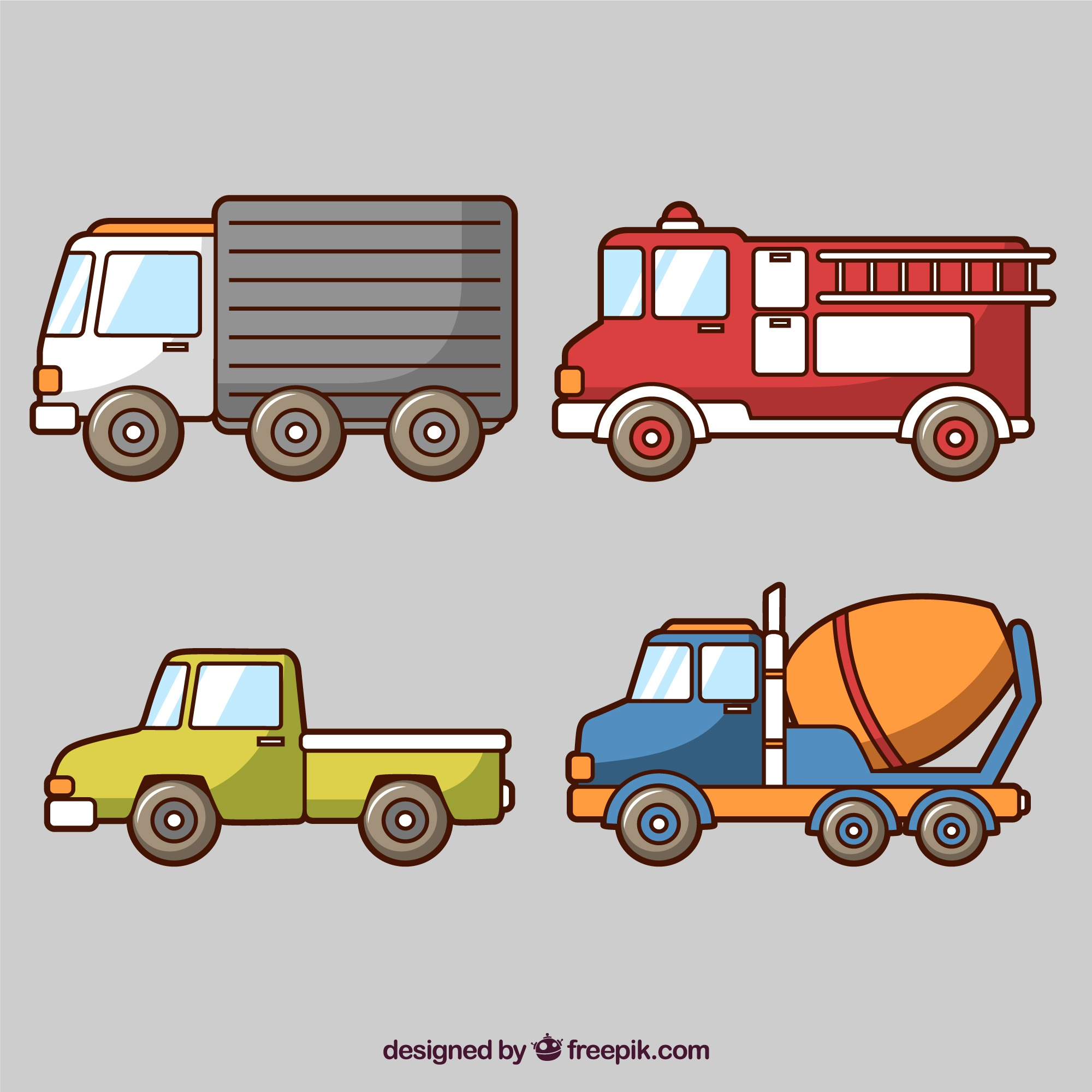 Several colored vehicles
