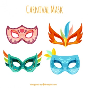 Several colorful carnival masks