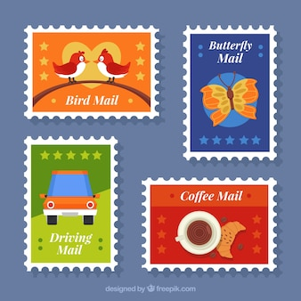 Several colorful post stamps