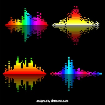 Several colorful sound waves