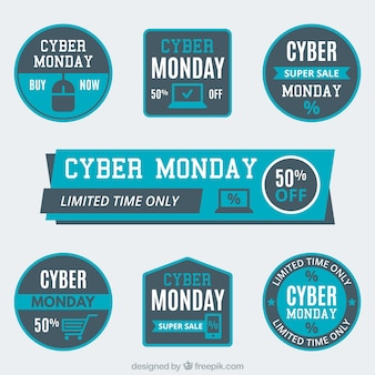 Several cyber monday labels in blue tones