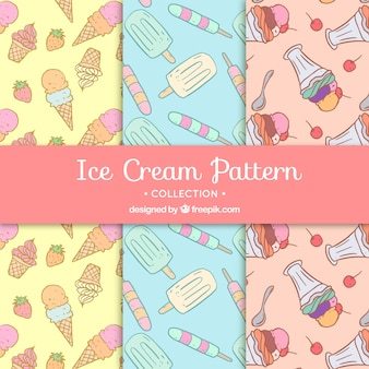 Several decorative patterns with ice creams in hand-drawn style