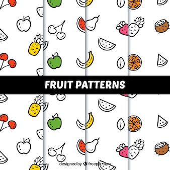 Several decorative patterns with linear fruits