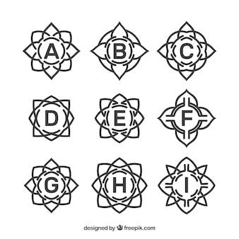 Several elegant floral monograms