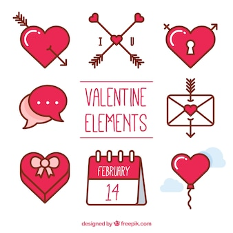 Several elements for valentine's day