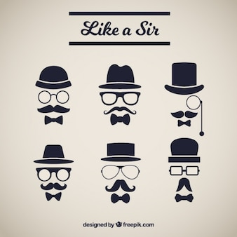 Several elements with elegant style mustache