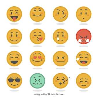 Several expressive emoticons in flat design