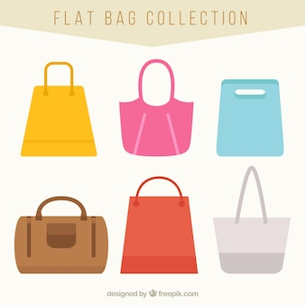 Several fabric bags in flat style