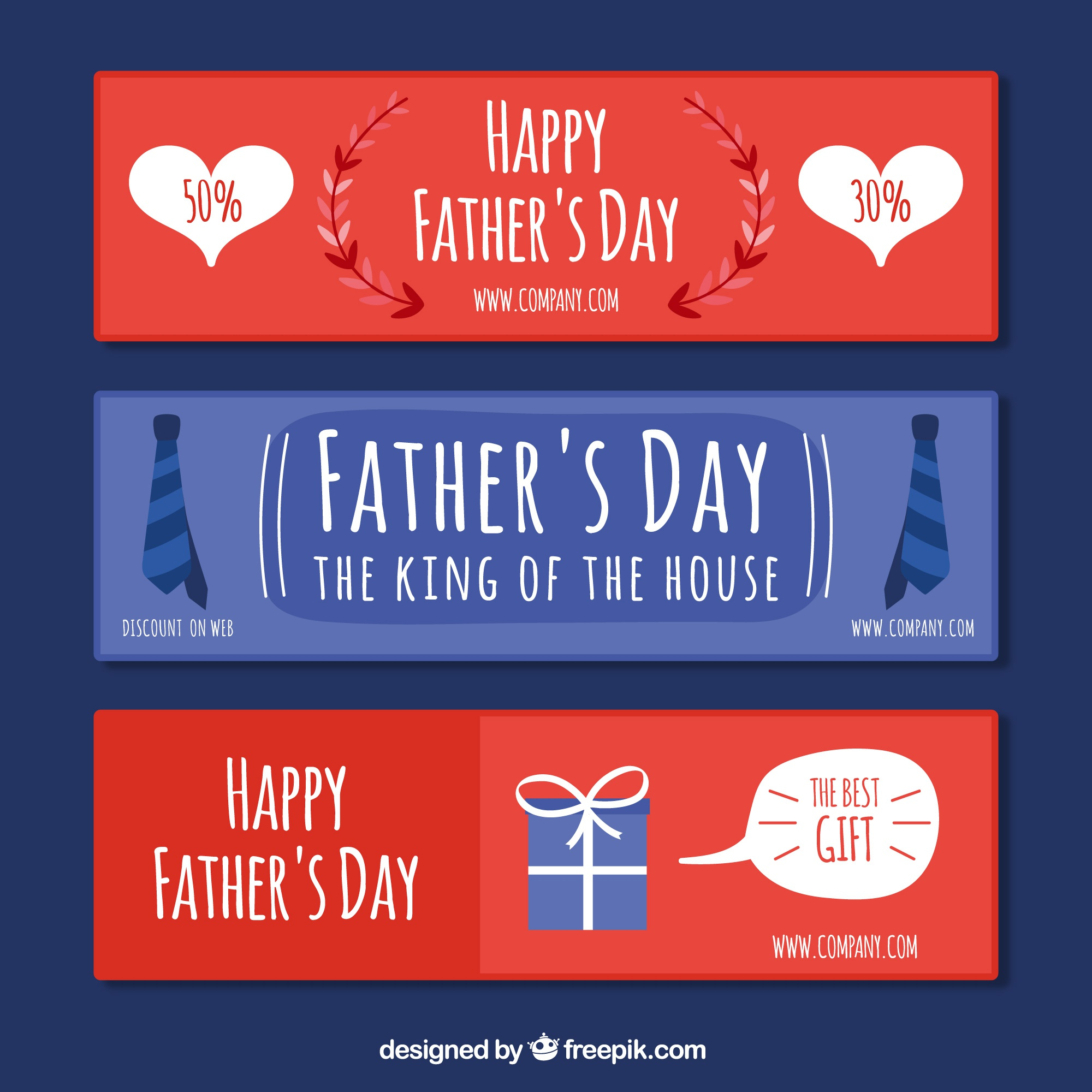 Several father's day banners with flat elements