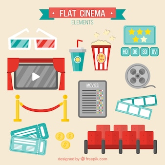 Several flat cinema accessories