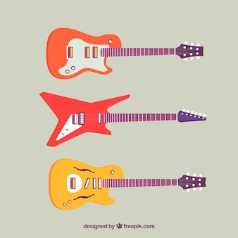 Several flat electric guitars
