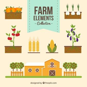 Several flat farm things