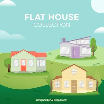 近代的なデザインのいくつかの平らな家