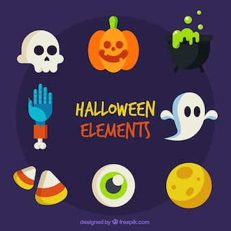 Several flat objects of halloween