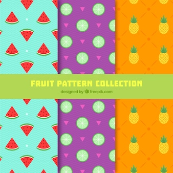 Several flat patterns with colored fruits