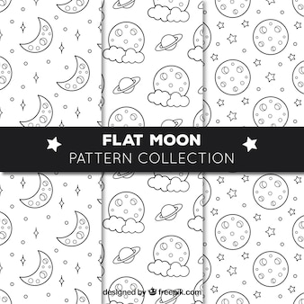 Several flat patterns with moons and stars