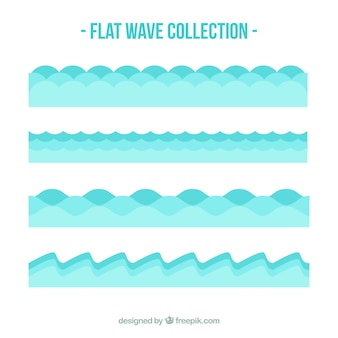 Several flat waves in blue tones