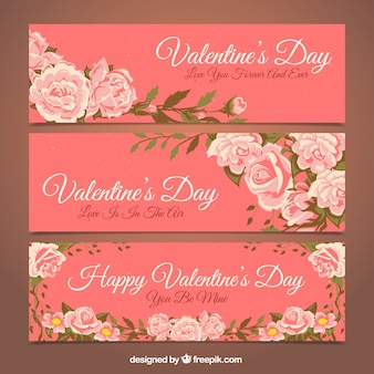Several floral banners for valentine's day