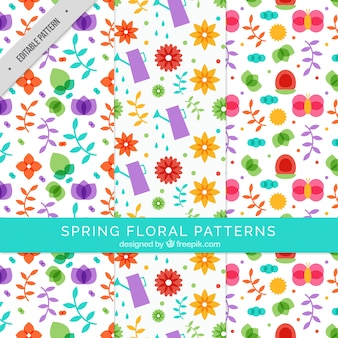 Several floral patterns in flat design