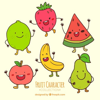 Several funny fruit characters
