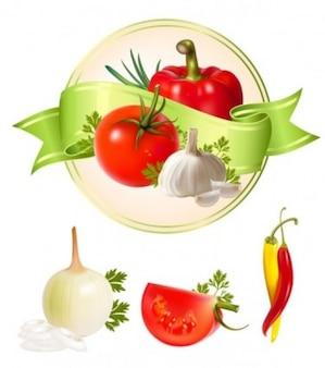 several garlic vegetables vector pack
