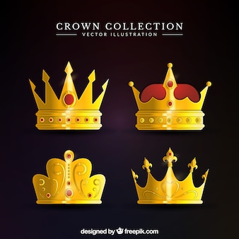 Several gold crowns in realistic design