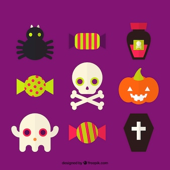 Several halloween items in flat style