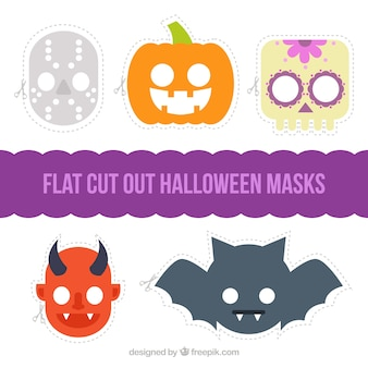 Several halloween masks in flat design