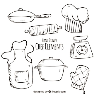 Several hand-drawn chef items