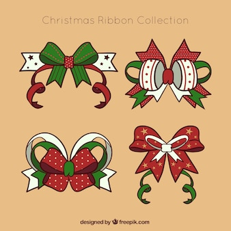 Several hand-drawn christmas bows