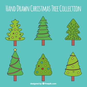 Several hand-drawn christmas trees with ornaments