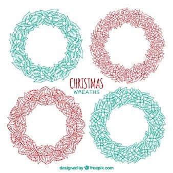 Several hand-drawn christmas wreaths