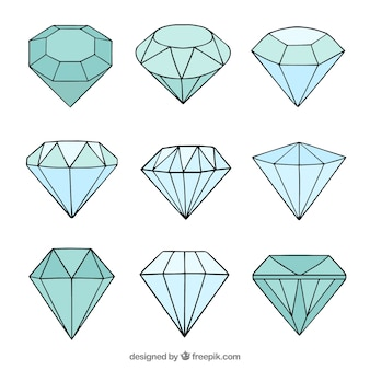 Several hand drawn diamonds