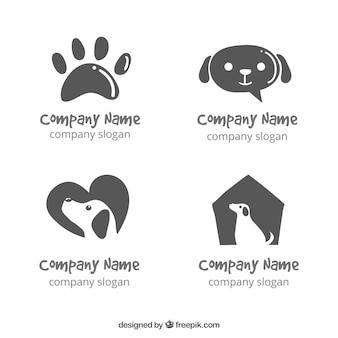 Several hand-drawn dog logos
