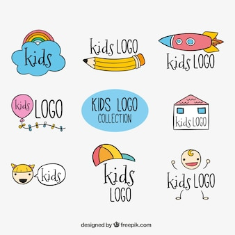 Several hand-drawn kids logos
