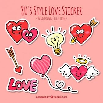 Several hand-drawn love stickers