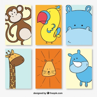 Several hand drawn lovely animal cards