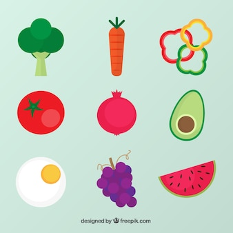 Several healthy food in flat design